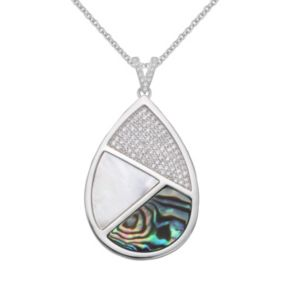 Sterling Silver Cubic Zirconia, Abalone & Mother-of-Pearl Teardrop Pendant