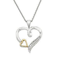 Two Tone Sterling Silver Diamond Accent Heart Pendant