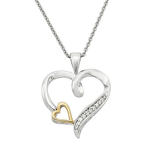 Two Tone Sterling Silver Diamond Accent Heart Pendant