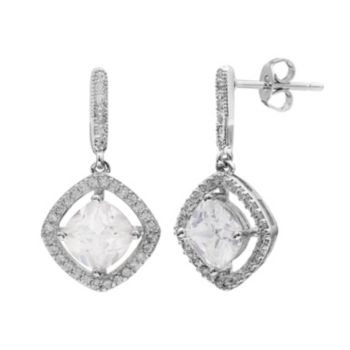 Cubic Zirconia Halo Drop Earrings