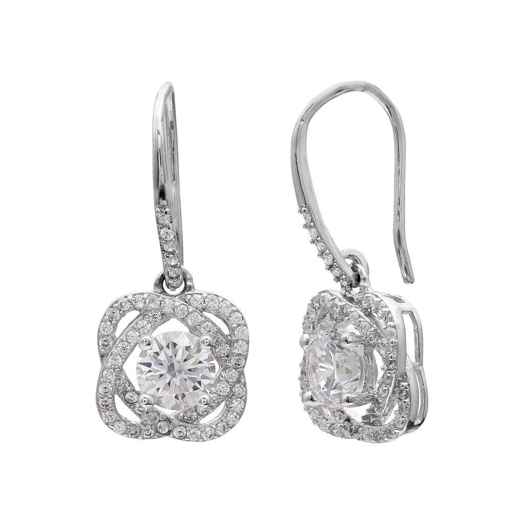 Cubic Zirconia Love Knot Drop Earrings