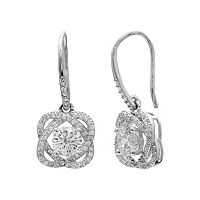 Cubic Zirconia Love Knot Drop Earrings