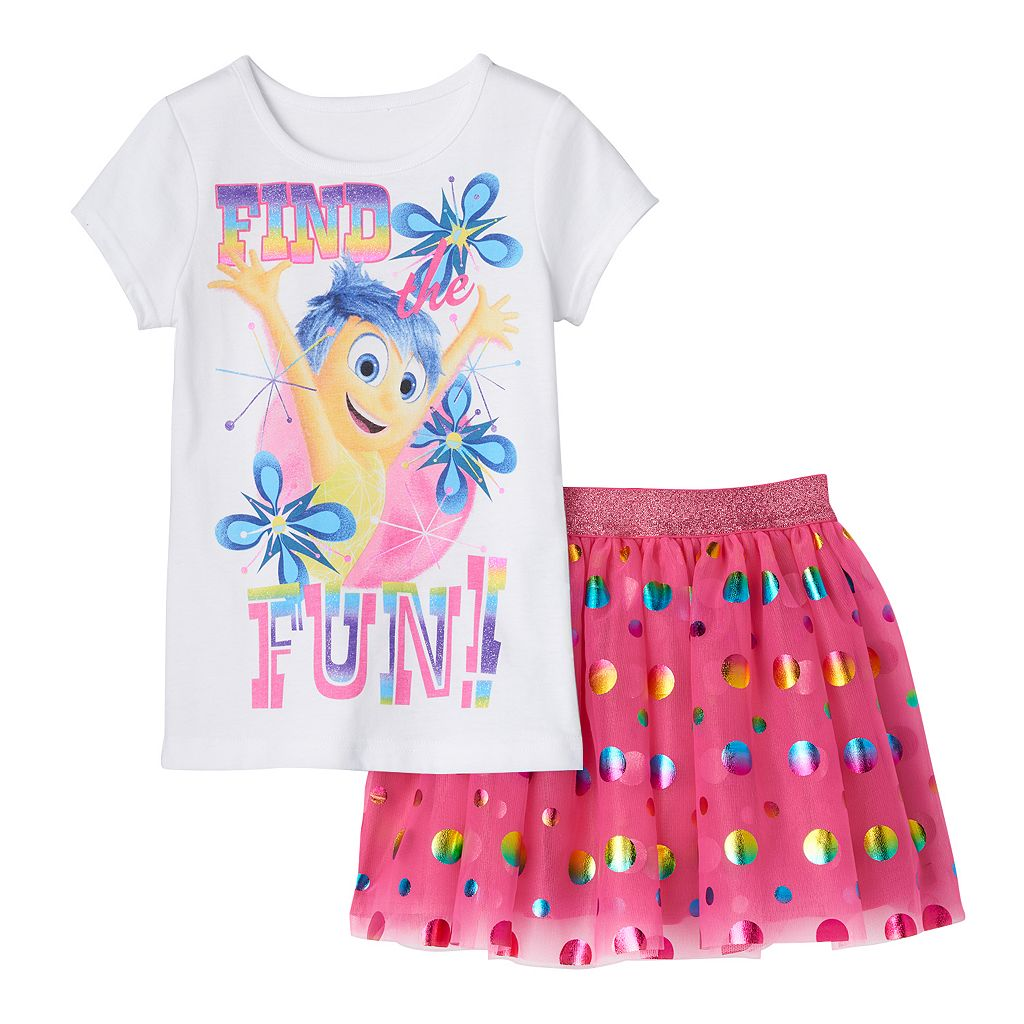Disney / Pixar Inside Out Joy Girls 4-6x Tee & Skirt Set