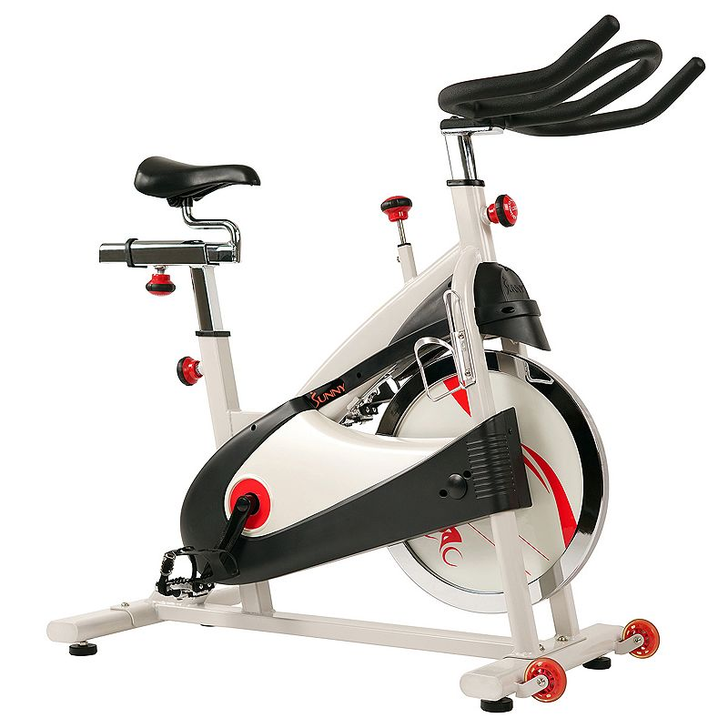 Sunny Health & Fitness Belt Drive Premium Indoor Cycling Bike, White Keep in shape and bike all year round with this Sunny Health & Fitness indoor cycling bike. Watch the product video here. Smooth and quiet belt drive Adjustable seat and handlebars Adjustable resistance Transportation wheels attached 47 H x 20 W x 47 D Weight: 108 lbs. Weight capacity: 265 lbs. Manufacturer's 90-day limited warrantyFor warranty information please click here Model no. SF-B1509  Size: One Size. Color: White. Gender: unisex. Age Group: adult.