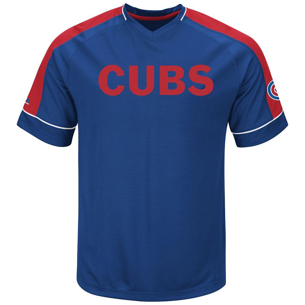 Men's Majestic Chicago Cubs Lead Hitter V-Neck Raglan Top
