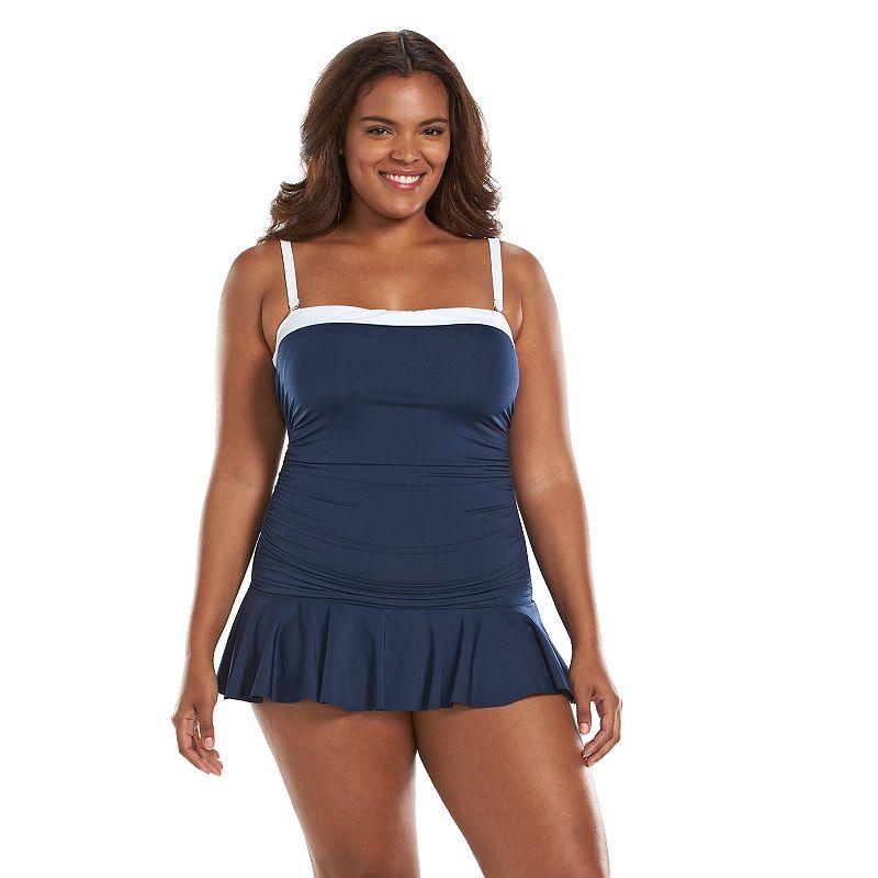 Plus Size Chaps Tummy Slimmer Ruffle Swimdress