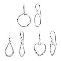 Pure 925 Sterling Silver Circle, Teardrop & Heart Drop Earring Set