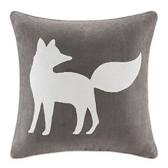 Madison Park Fox Embroidered Faux Suede Throw Pillow