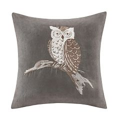 Madison Park Owl Embroidered Faux Suede Throw Pillow