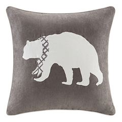 Madison Park Bear Embroidered Faux Suede Throw Pillow