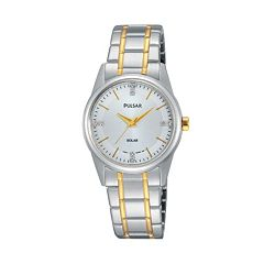 Pulsar Women's Night Out Crystal Stainless Steel Solar Watch