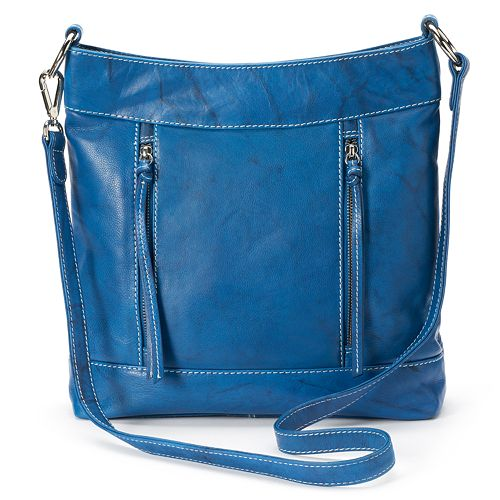 ili Leather Vertical Zippers Crossbody Bag