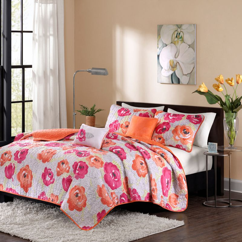pink and orange bedroom imported watercolor bedding kohl s 16688