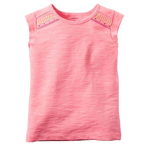 Girls 4-8 Carter's Embroidered Chevron Shoulder Tee