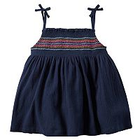 Girls 4-8 Carter's Embroidered Smocked Gauze Tank Top