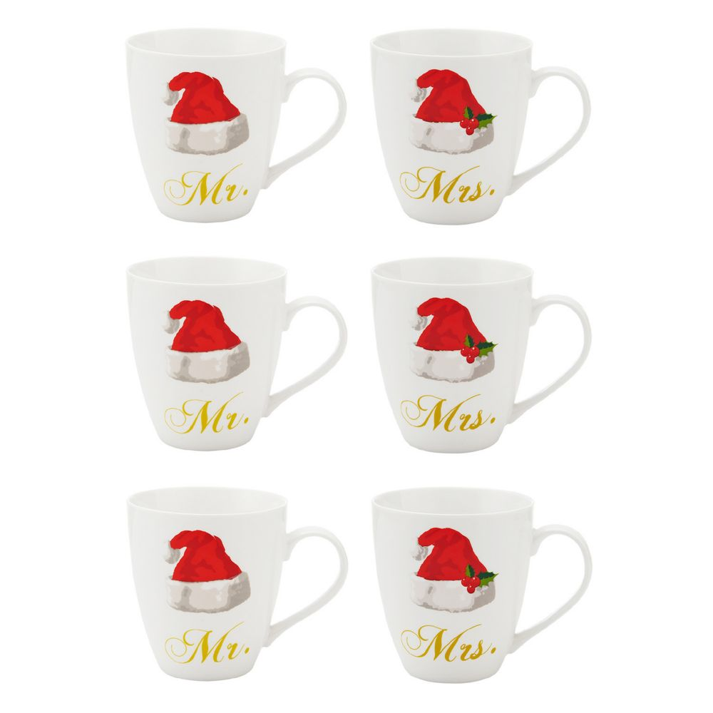 6 pc mr u0026 mrs santa hat coffee mug set