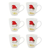 Pfaltzgraff 6 pc Mr. & Mrs. Santa Hat Coffee Mug Set