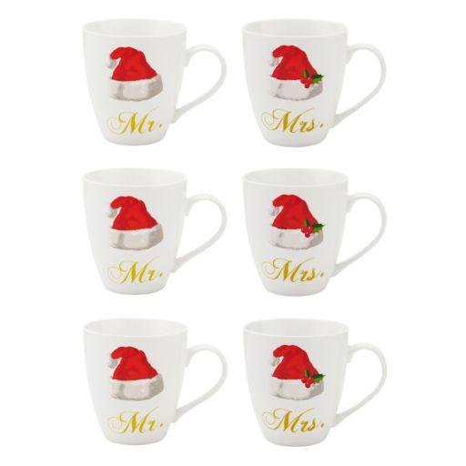 Pfaltzgraff 6-pc. Mr. & Mrs. Santa Hat Coffee Mug Set