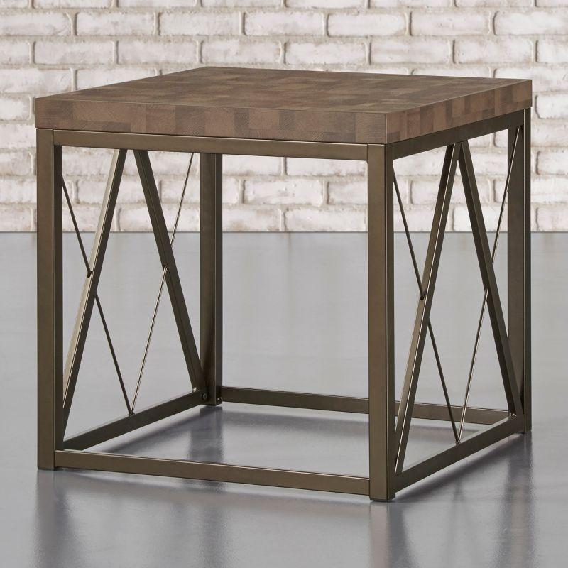 HomeVance Syrah Geometric End Table, Brown