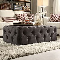 HomeVance Vanderbilt Button Tufted Rectangular Cocktail Ottoman