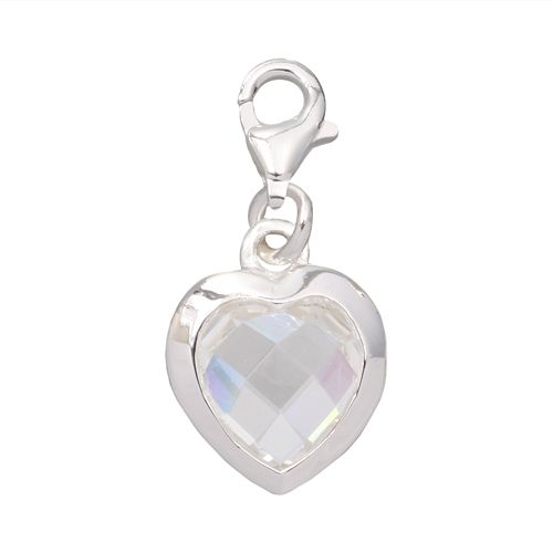Individuality Beads Crystal Sterling Silver Heart Charm