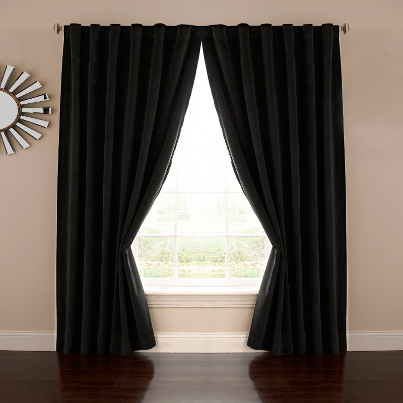 eclipse Absolute Zero Velvet Thermaback Blackout Home Theater Window Curtain, Black