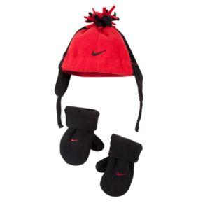 Baby Boy Nike Fleece Beanie & Mittens Set