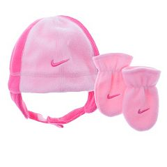 Baby Girl Nike Fleece Beanie & Mittens Set