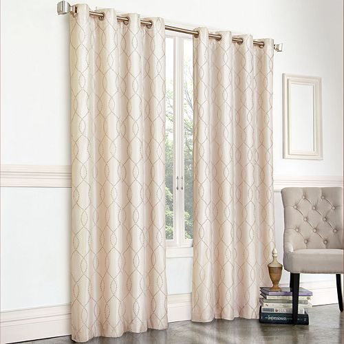 Regent Court 1-Panel Gramercy Embroidered Faux-Silk Window Curtain