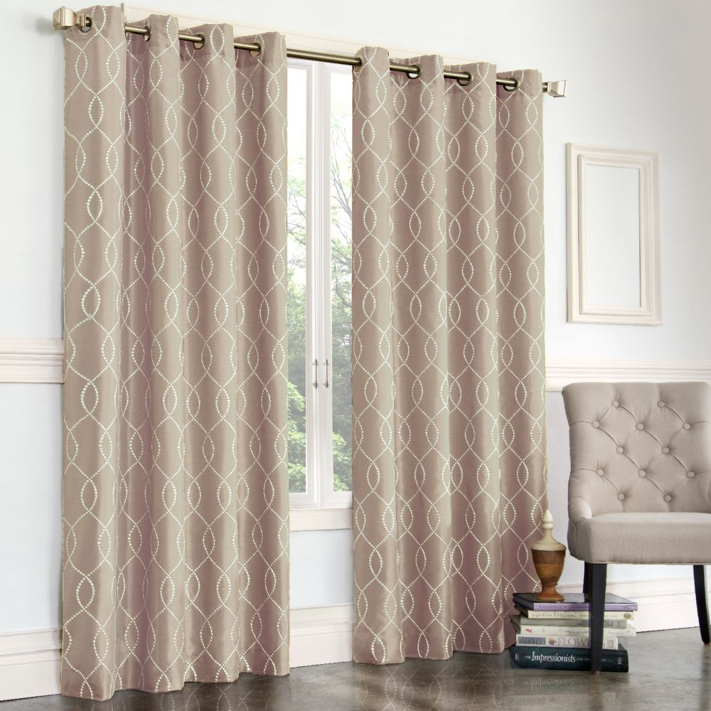 court gramercy embroidered faux-silk curtain