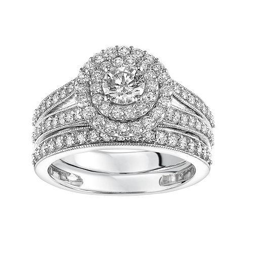 Simply Vera Vera Wang 14k White Gold 1 1/2 Carat T.W. Certified Diamond Double Halo Engagement Ring Set