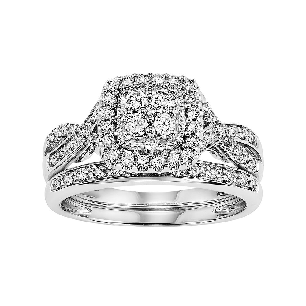 Simply Vera 14k White Gold 1 2 Carat T W Certified Diamond Square Halo Engagement Ring Set