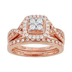 ff1f02652 Simply Vera Vera Wang 14k Gold 1/2 Carat T.W. Certified Diamond Square Halo  Engagement