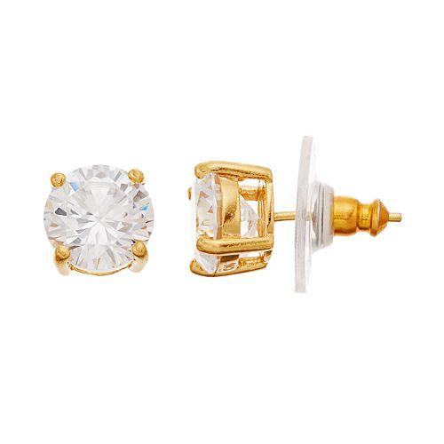 14k Gold Over Silver Cubic Zirconia Stud Earrings