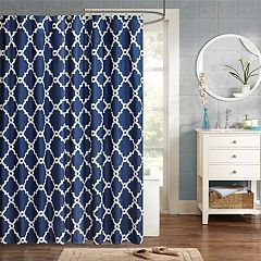 Madison Park Essentials Almaden Shower Curtain Taupe Navy Gray