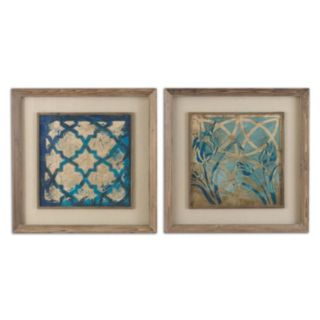 Uttermost Stained Glass Indigo Framed Wall Art 2-piece Set