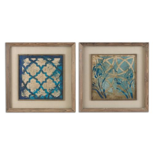 Stained Glass Indigo Framed Wall Art 2-piece Set