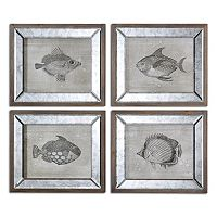 Mirrored Fish Wall Art 4-piece Set