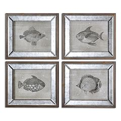 Uttermost Mirrored Fish Wall Art 4-piece Set