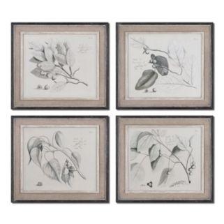 Sepia Leaf Study Wall Art 4-piece Set