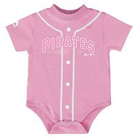 Baby Majestic Pittsburgh Pirates Pink Jersey Bodysuit