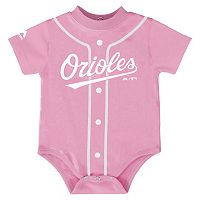 Baby Majestic Baltimore Orioles Pink Jersey Bodysuit