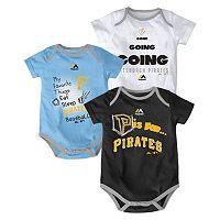 Baby Majestic Pittsburgh Pirates Baseball Baby 3-Piece Bodysuit Set