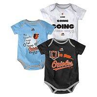 Baby Majestic Baltimore Orioles Baseball Baby 3-Piece Bodysuit Set