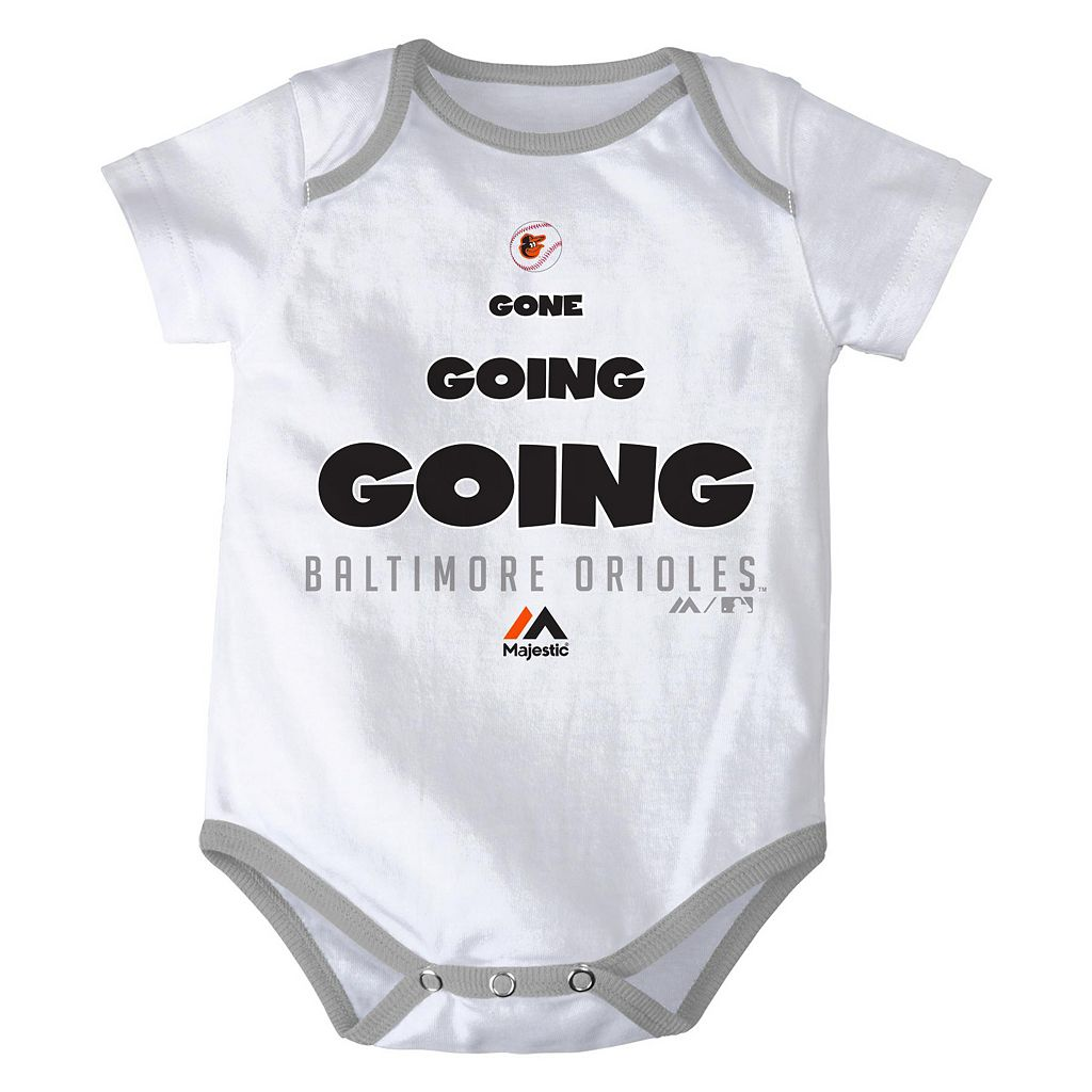 Baby Majestic Baltimore Orioles Baseball Baby 3-Piece Bodysuit Set
