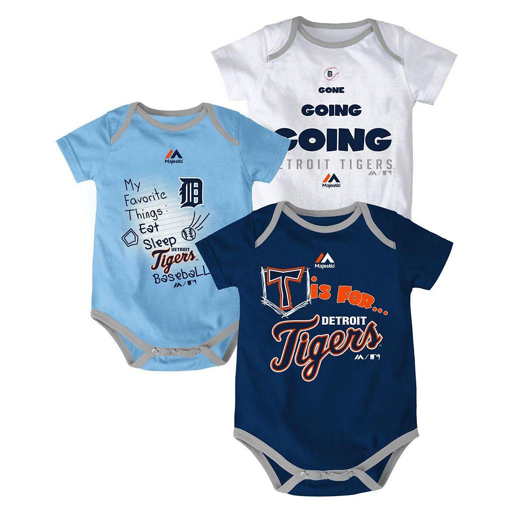 Baby Majestic Detroit Tigers Baseball Baby 3-Piece Bodysuit Set