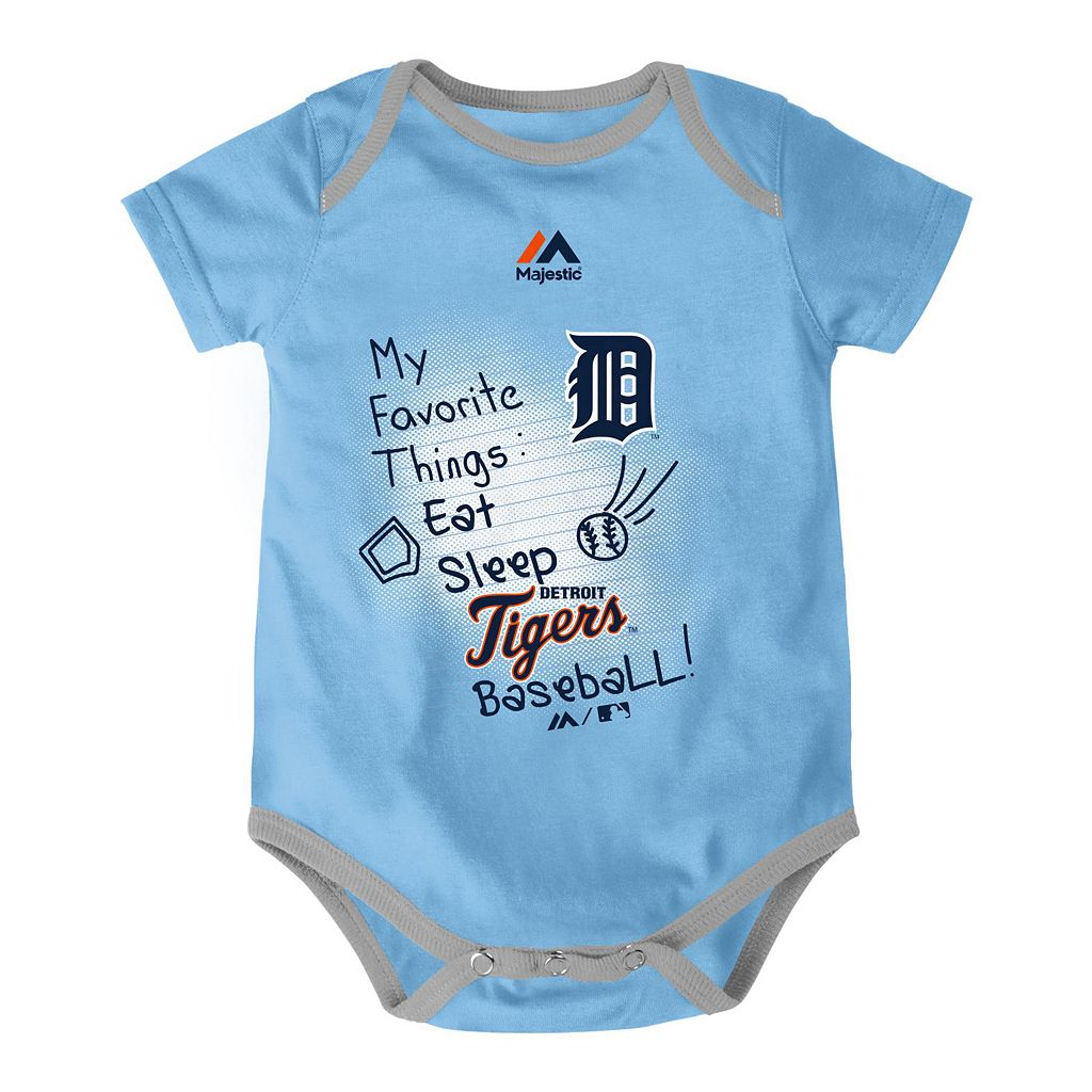 Baby Majestic Detroit Tigers Baseball Baby 3-Piece Bodysuit Set