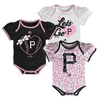 Baby Majestic Pittsburgh Pirates Wild Pitch 3-Piece Bodysuit Set