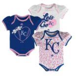 Baby Majestic Kansas City Royals Wild Pitch 3-Piece Bodysuit Set