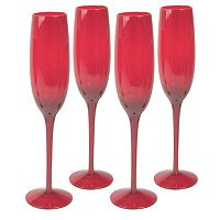 Artland 4 pc Midnight Rouge Champagne Flute Set